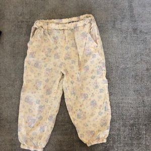Lightweight pants with floral print wheat brand